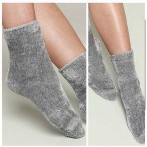 Soft Gray Chenille Socks